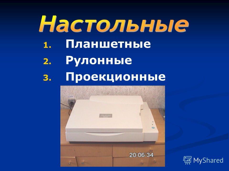 1. Планшетные 2. Рулонные 3. Проекционные