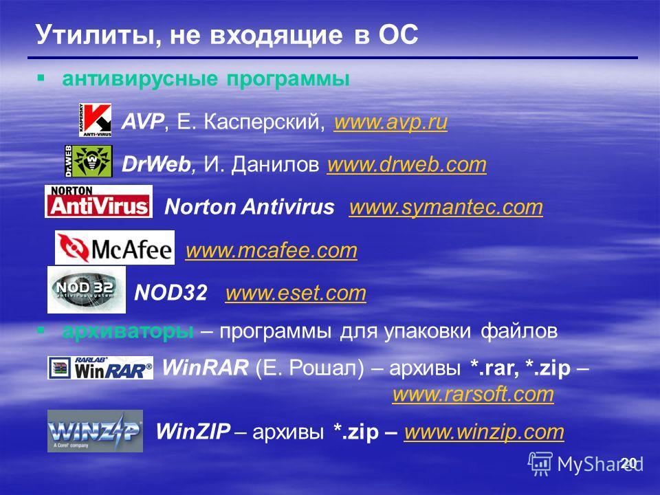 20 Утилиты, не входящие в ОС антивирусные программы AVP, Е. Касперский, www.avp.ruwww.avp.ru DrWeb, И. Данилов www.drweb.comwww.drweb.com Norton Antivirus www.symantec.comwww.symantec.com www.mcafee.com NOD32 www.eset.comwww.eset.com архиваторы – про