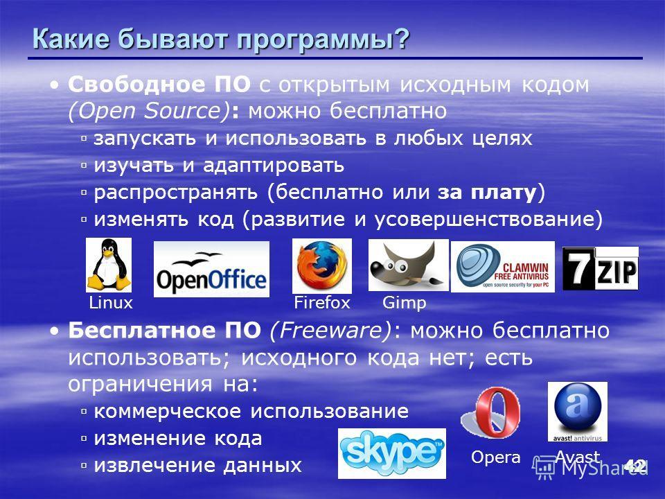 42 Какие бывают программы? Свободное ПО с открытым исходным кодом (Open Source): можно бесплатно запускать и использовать в любых целях изучать и адаптировать распространять (бесплатно или за плату) изменять код (развитие и усовершенствование) Беспла