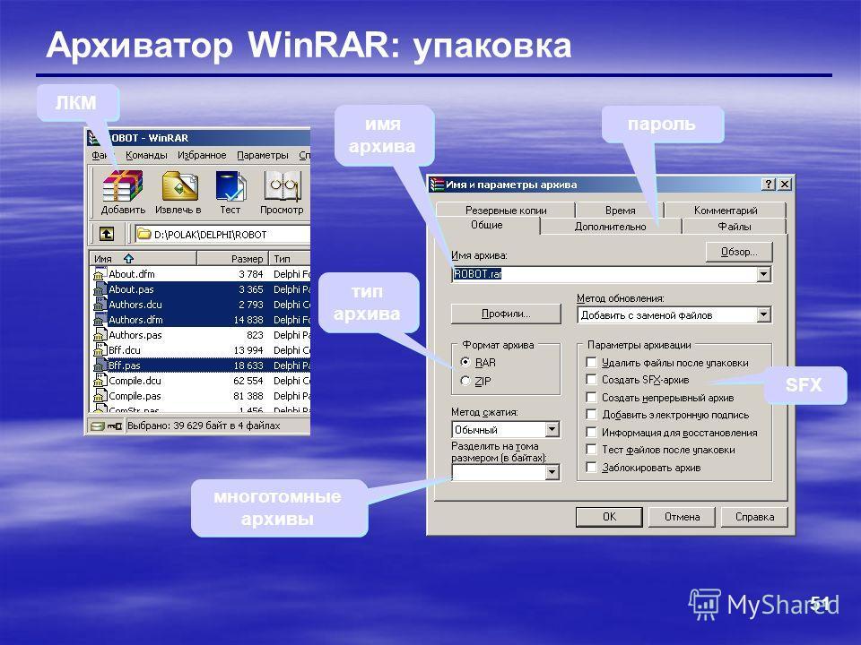 51 Архиватор WinRAR: упаковка ЛКМ тип архива SFX многотомные архивы пароль имя архива