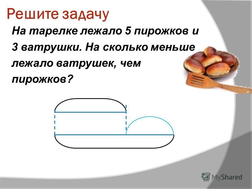 Решите задачу На тарелке лежало 5 пирожков и 3 ватрушки. На сколько меньше лежало ватрушек, чем пирожков?