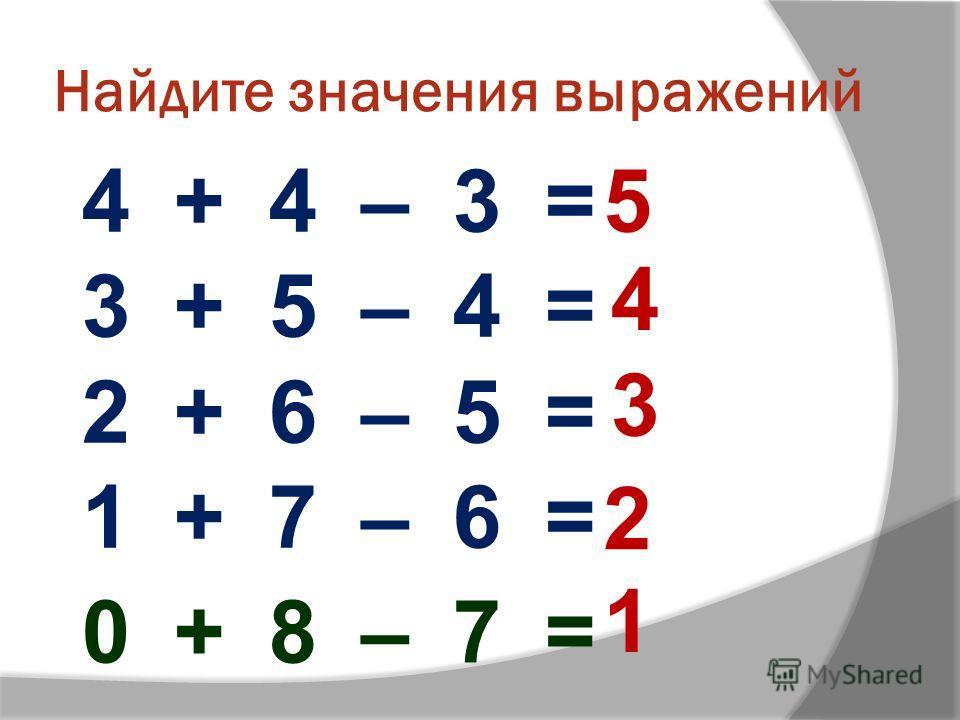 Найдите значения выражений 4 + 4 – 3 = 3 + 5 – 4 = 2 + 6 – 5 = 1 + 7 – 6 = 0 + 8 – 7 = 5 4 3 2 1