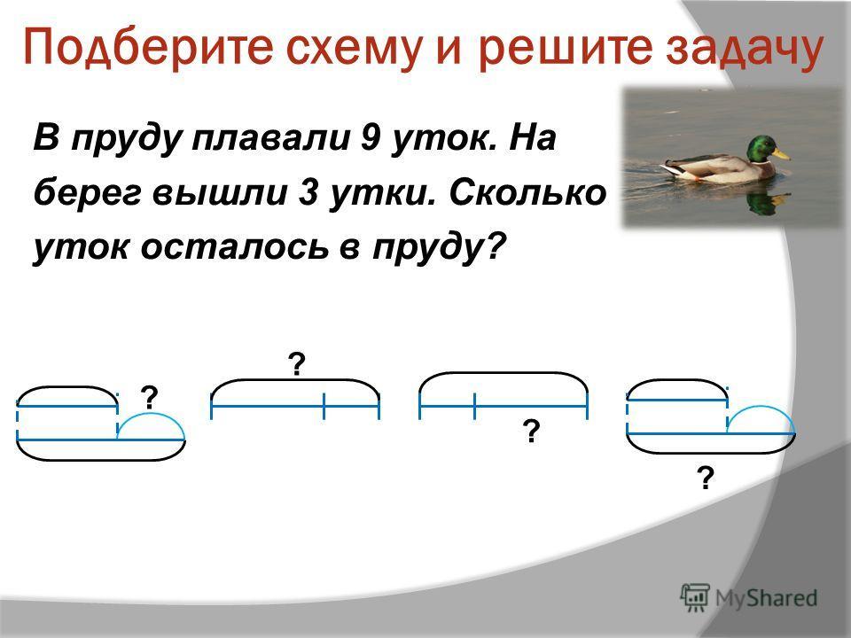 Подберите схему и решите задачу В пруду плавали 9 уток. На берег вышли 3 утки. Сколько уток осталось в пруду? ? ? ? ?