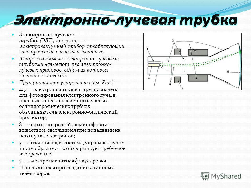 Электронно-лучевая трубка (ЭЛТ), кинескоп электровакуумный прибор, преобразующий электрические сигналы в световые. В строгом смысле, электронно-лучевыми трубками называют ряд электронно- лучевых приборов, одним из которых являются кинескоп. Принципиа