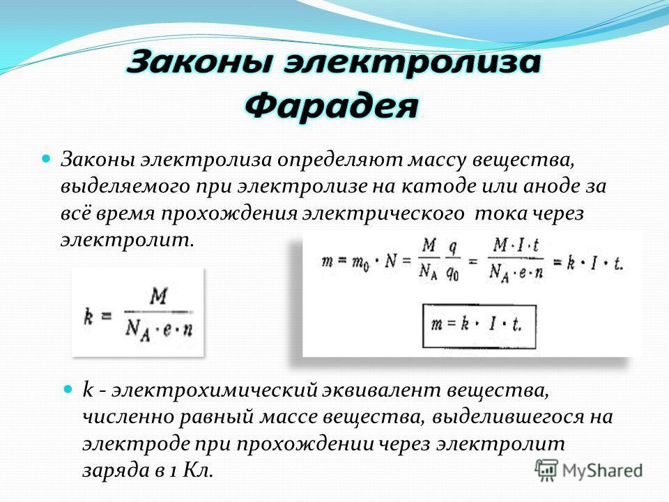 Законы электролиза определяют массу вещества, выделяемого при электролизе на катоде или аноде за всё время прохождения электрического тока через электролит. k - электрохимический эквивалент вещества, численно равный массе вещества, выделившегося на э