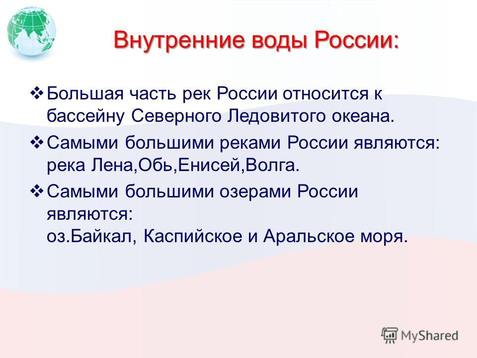 Внутренние воды России: Большая часть рек России относится к бассейну Северного Ледовитого океана. Самыми большими реками России являются: река Лена,Обь,Енисей,Волга. Самыми большими озерами России являются: оз.Байкал, Каспийское и Аральское моря.