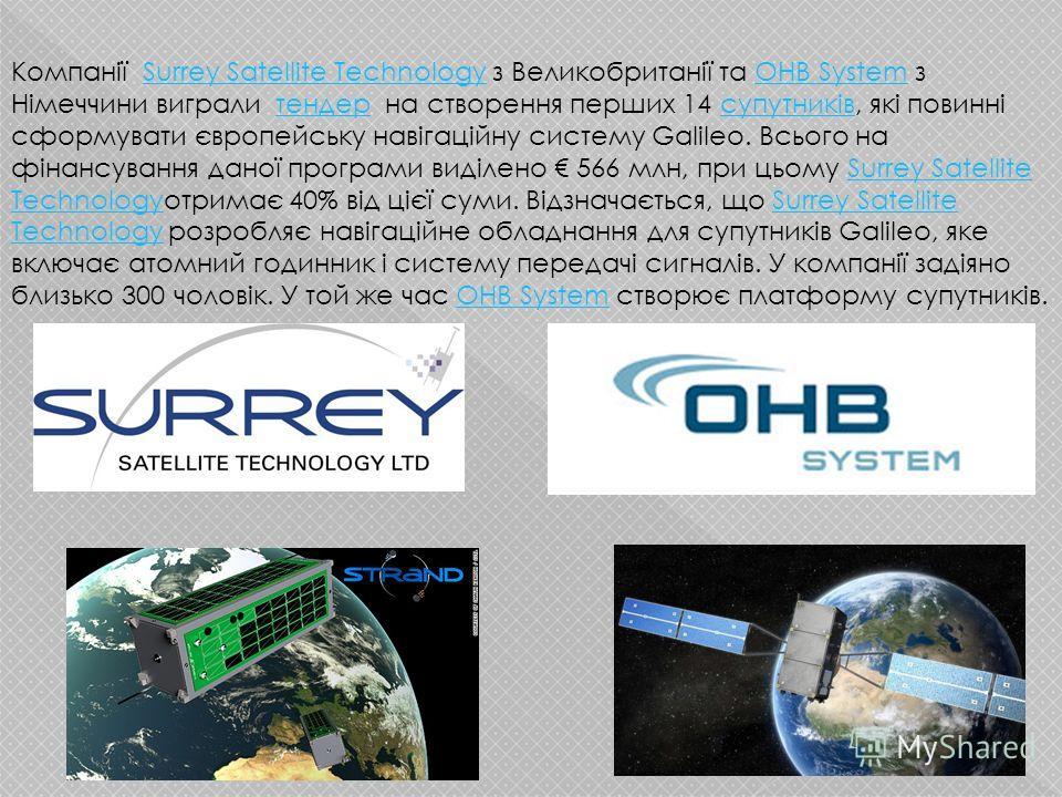 Компанії Surrey Satellite Technology з Великобританії та OHB System з Німеччини виграли тендер на створення перших 14 супутників, які повинні сформувати європейську навігаційну систему Galileo. Всього на фінансування даної програми виділено 566 млн,