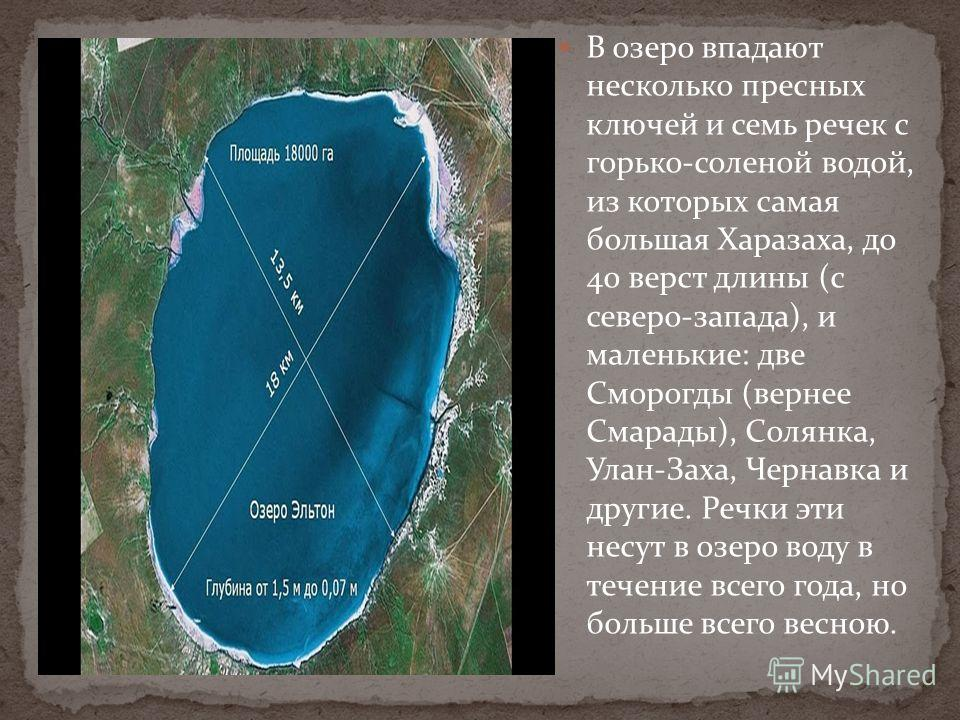 В озеро впадают несколько пресных ключей и семь речек с горько-соленой водой, из которых самая большая Харазаха, до 40 верст длины (с северо-запада), и маленькие: две Сморогды (вернее Смарады), Солянка, Улан-Заха, Чернавка и другие. Речки эти несут в