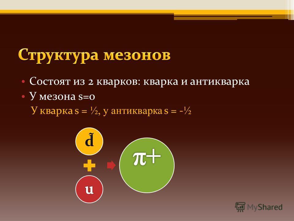 Состоят из 2 кварков: кварка и антикварка У мезона s=0 У кварка s = ½, у антикварка s = - ½