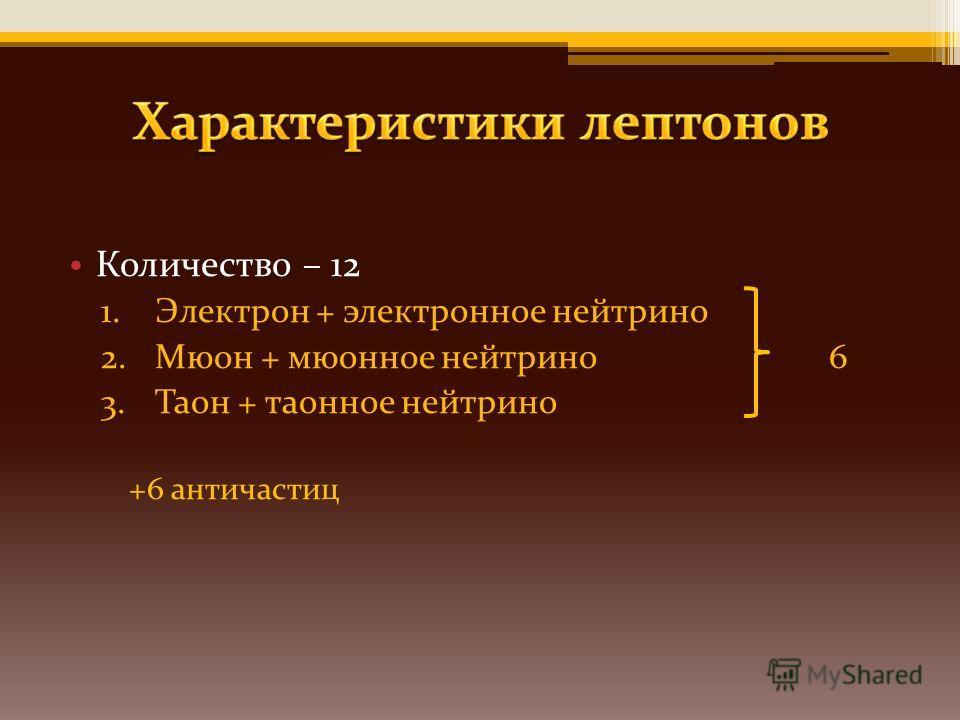 Количество – 12 1.Электрон + электронное нейтрино 2.Мюон + мюонное нейтрино 6 3.Таон + таонное нейтрино +6 античастиц