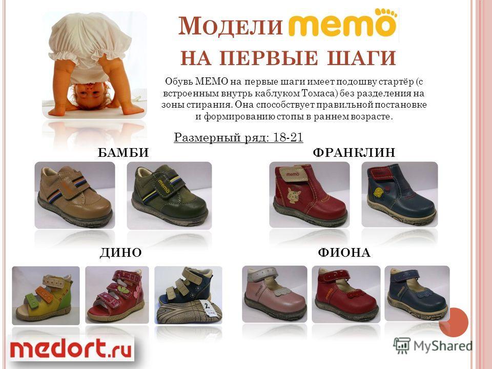М ОДЕЛИ НА ПЕРВЫЕ ШАГИ Обувь МЕМО на первые шаги имеет подошву стартёр (с встроенным внутрь каблуком Томаса) без разделения на зоны стирания. Она способствует правильной постановке и формированию стопы в раннем возрасте. Размерный ряд: 18-21 БАМБИФРА