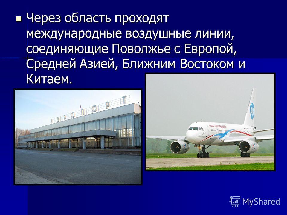 Через область проходят международные воздушные линии, соединяющие Поволжье с Европой, Средней Азией, Ближним Востоком и Китаем. Через область проходят международные воздушные линии, соединяющие Поволжье с Европой, Средней Азией, Ближним Востоком и Ки