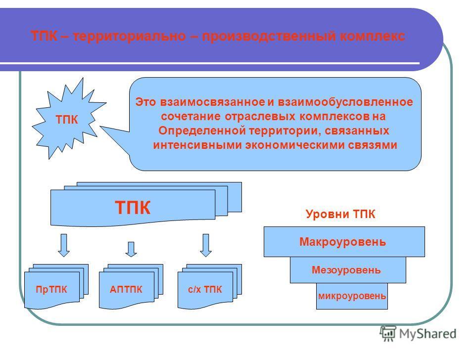 ТПК – территориально – производственный комплекс ТПК Это взаимосвязанное и взаимообусловленное сочетание отраслевых комплексов на Определенной территории, связанных интенсивными экономическими связями ТПК АПТПКс/х ТПКПрТПК микроуровень Мезоуровень Ма