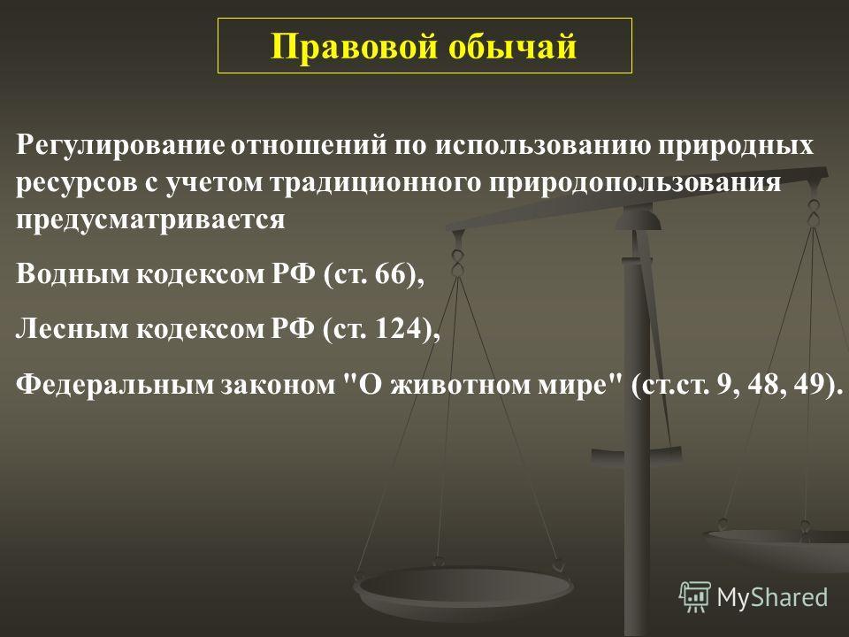 Регулирование отношений по использованию природных ресурсов с учетом традиционного природопользования предусматривается Водным кодексом РФ (ст. 66), Лесным кодексом РФ (ст. 124), Федеральным законом
