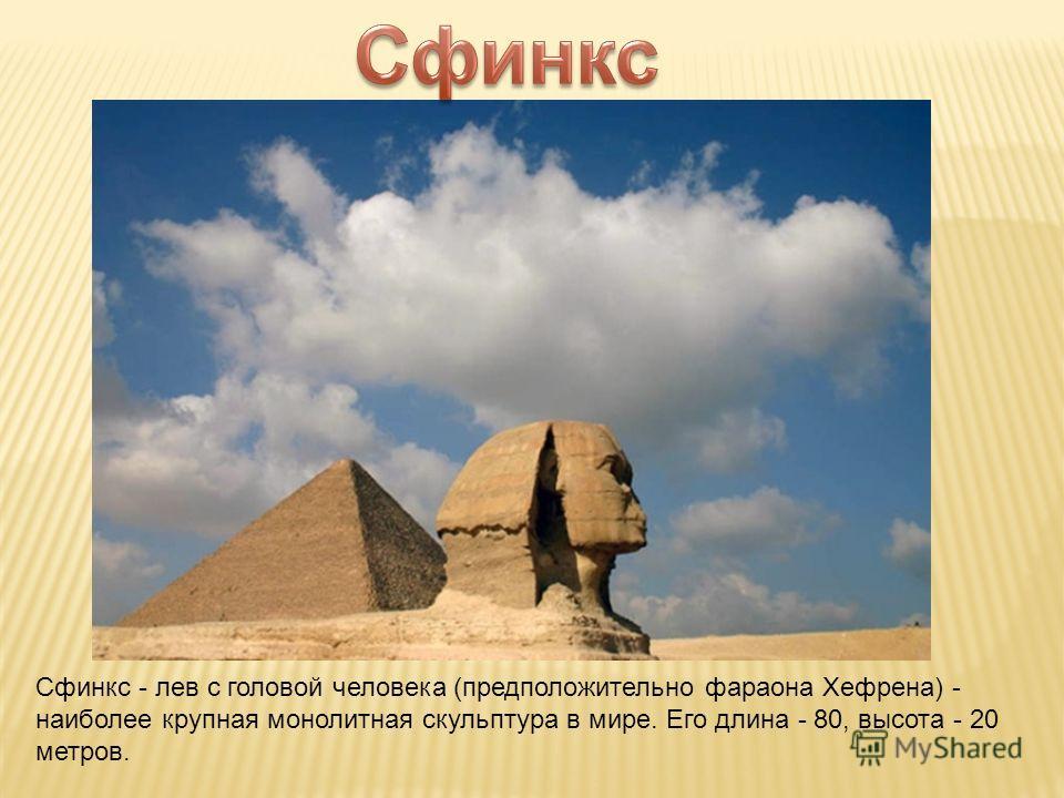 Сфинкс - лев с головой человека (предположительно фараона Хефрена) - наиболее крупная монолитная скульптура в мире. Его длина - 80, высота - 20 метров.