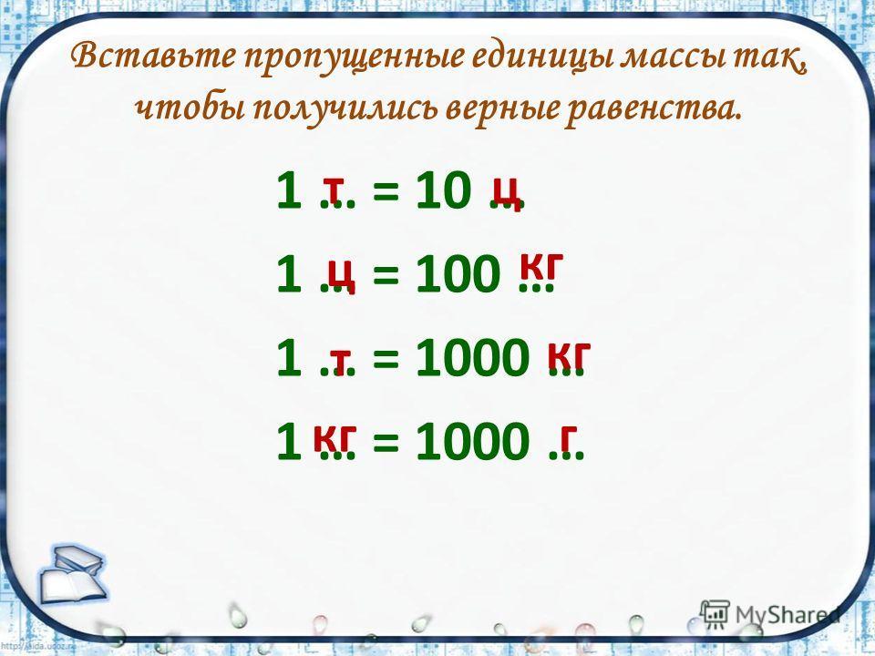 Вставьте пропущенные единицы массы так, чтобы получились верные равенства. 1 … = 10 … 1 … = 100 … 1 … = 1000 … кг г т т ц ц