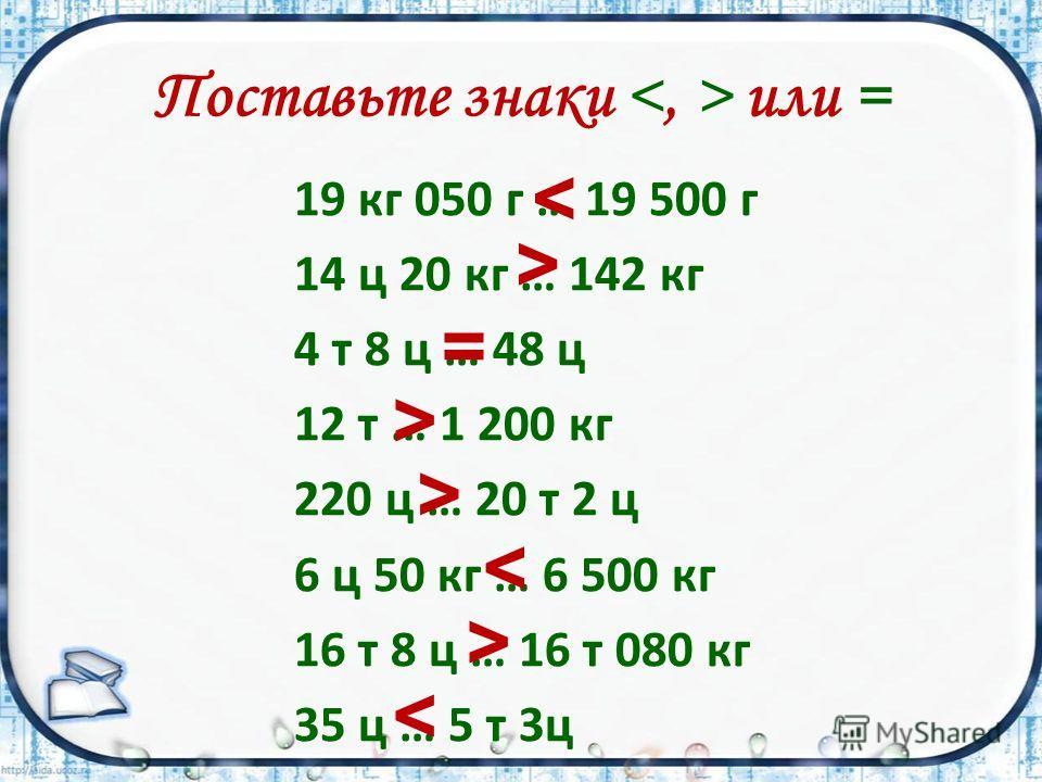 Поставьте знаки или = 19 кг 050 г … 19 500 г 14 ц 20 кг … 142 кг 4 т 8 ц … 48 ц 12 т … 1 200 кг 220 ц … 20 т 2 ц 6 ц 50 кг … 6 500 кг 16 т 8 ц … 16 т 080 кг 35 ц … 5 т 3ц < > = > > < >