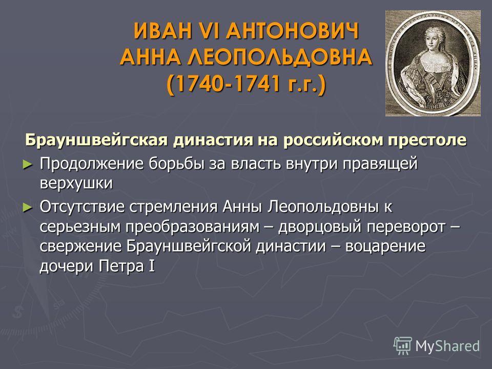 ИВАН VI АНТОНОВИЧ АННА ЛЕОПОЛЬДОВНА (1740-1741 г.г.) Брауншвейгская династия на российском престоле Продолжение борьбы за власть внутри правящей верхушки Продолжение борьбы за власть внутри правящей верхушки Отсутствие стремления Анны Леопольдовны к