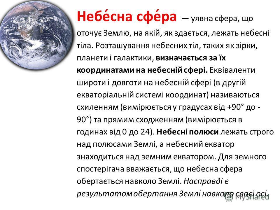 Небе́сна сфе́ра уявна сфера, що оточує Землю, на якій, як здається, лежать небесні тіла. Розташування небесних тіл, таких як зірки, планети і галактики, визначається за їх координатами на небесній сфері. Еквіваленти широти і довготи на небесній сфері