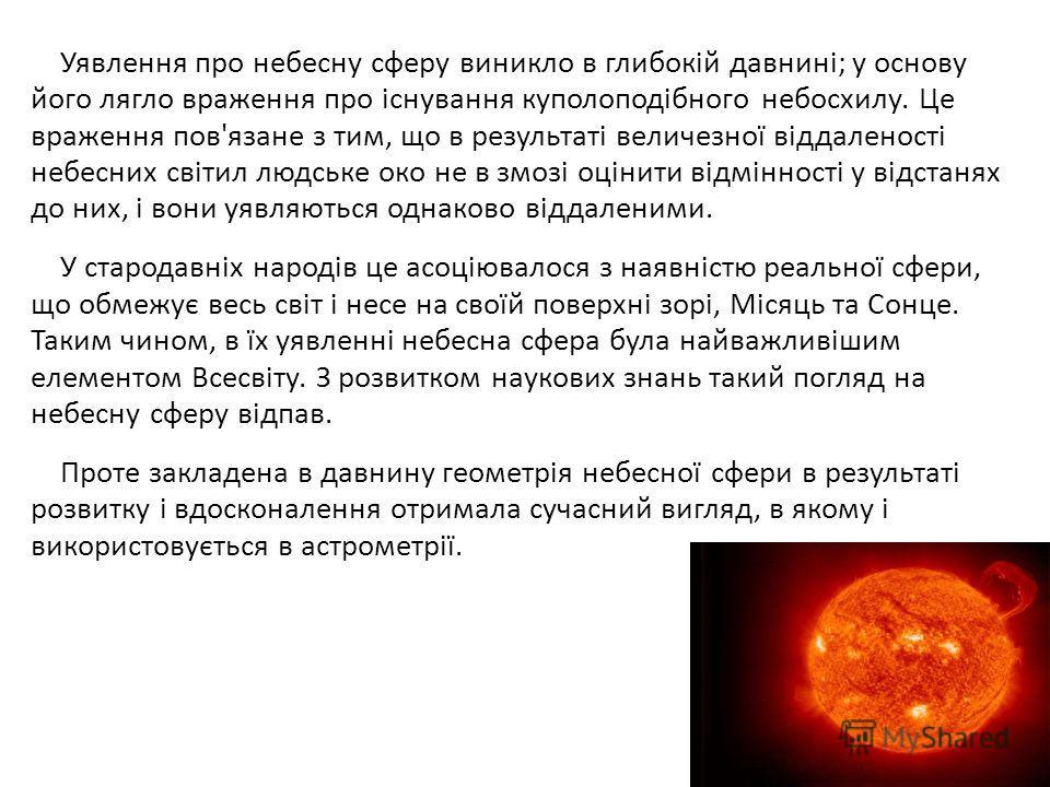 Уявлення про небесну сферу виникло в глибокій давнині; у основу його лягло враження про існування куполоподібного небосхилу. Це враження пов'язане з тим, що в результаті величезної віддаленості небесних світил людське око не в змозі оцінити відміннос