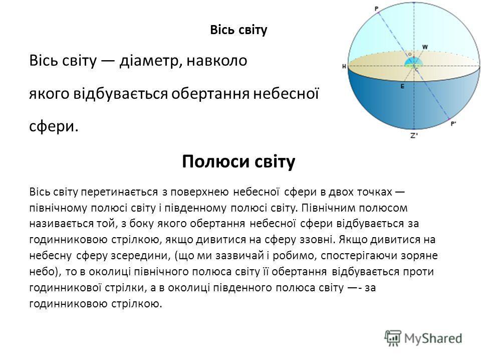 Вісь світу Вісь світу діаметр, навколо якого відбувається обертання небесної сфери. Полюси світу Вісь світу перетинається з поверхнею небесної сфери в двох точках північному полюсі світу і південному полюсі світу. Північним полюсом називається той, з