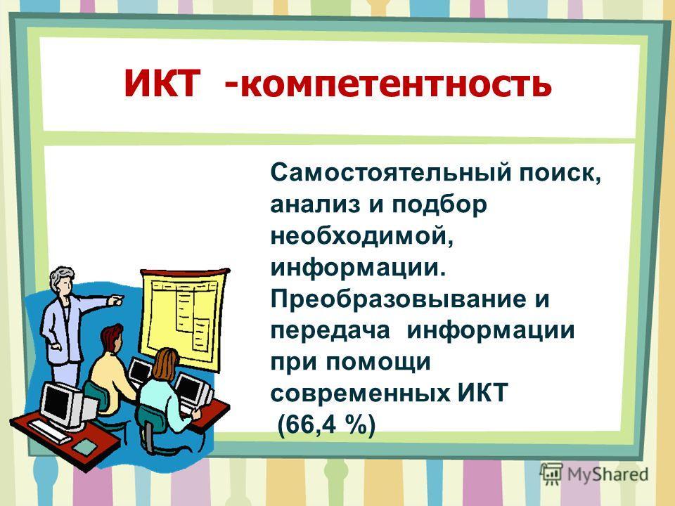 ИКТ -компетентность Самостоятельный поиск, анализ и подбор необходимой, информации. Преобразовывание и передача информации при помощи современных ИКТ (66,4 %)
