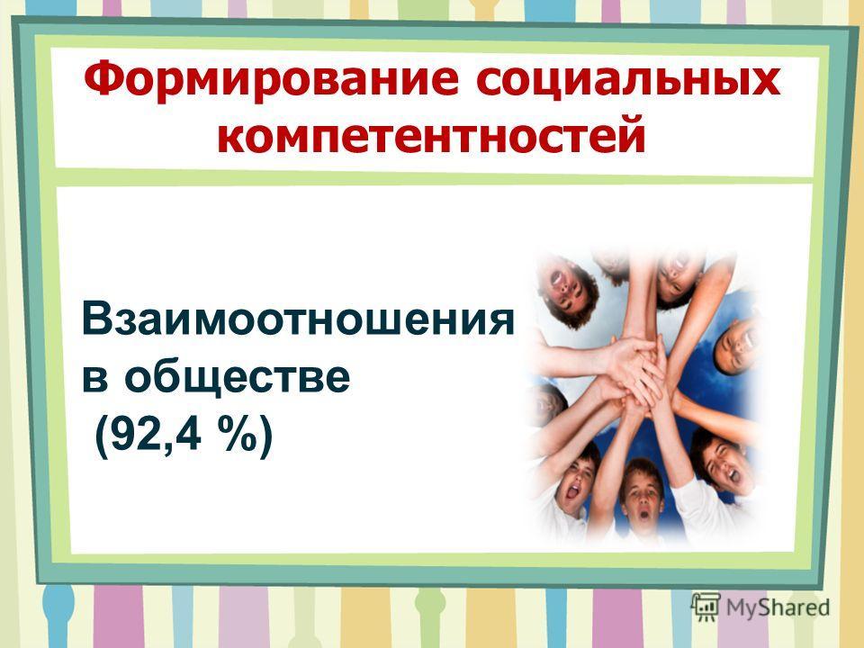 Формирование социальных компетентностей Взаимоотношения в обществе (92,4 %)
