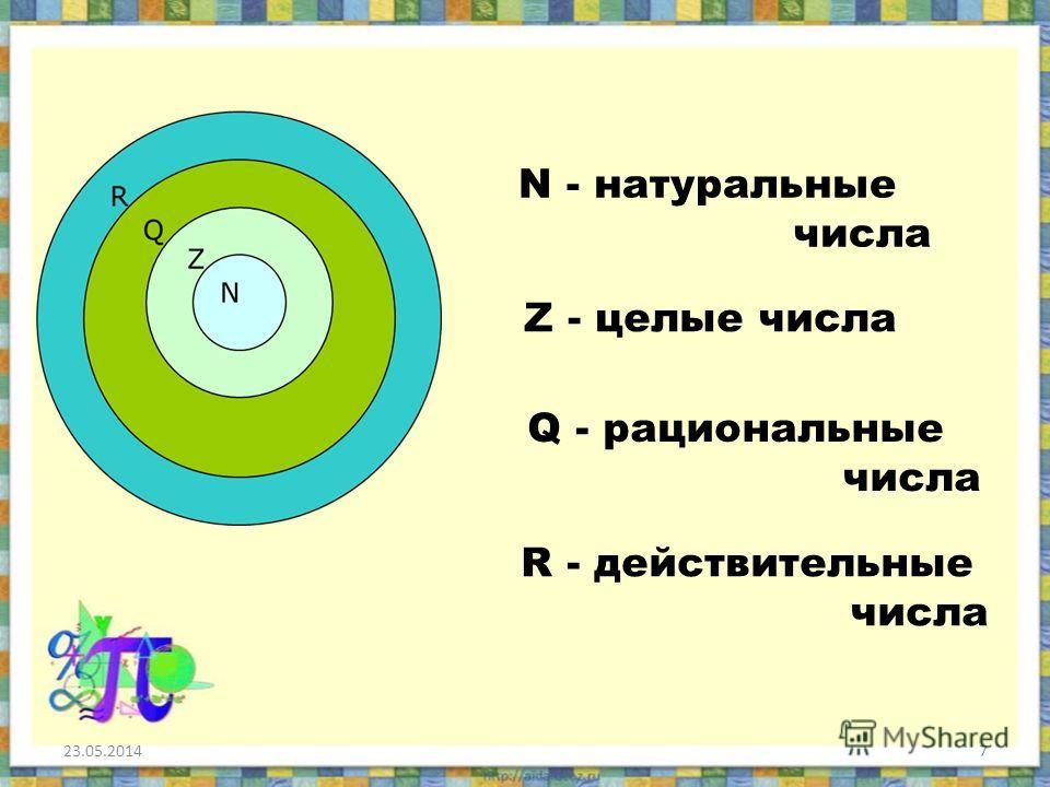 7 N - натуральные числа Z - целые числа Q - рациональные числа R - действительные числа