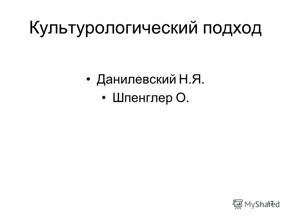 17 Культурологический подход Данилевский Н.Я. Шпенглер О.