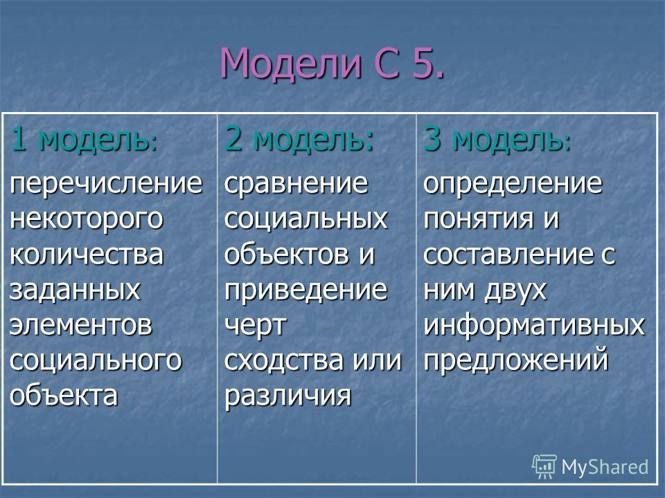 Модели С 5. 1 модель : перечисление некоторого количества заданных элементов социального объекта 2 модель: сравнение социальных объектов и приведение черт сходства или различия 3 модель : определение понятия и составление с ним двух информативных пре