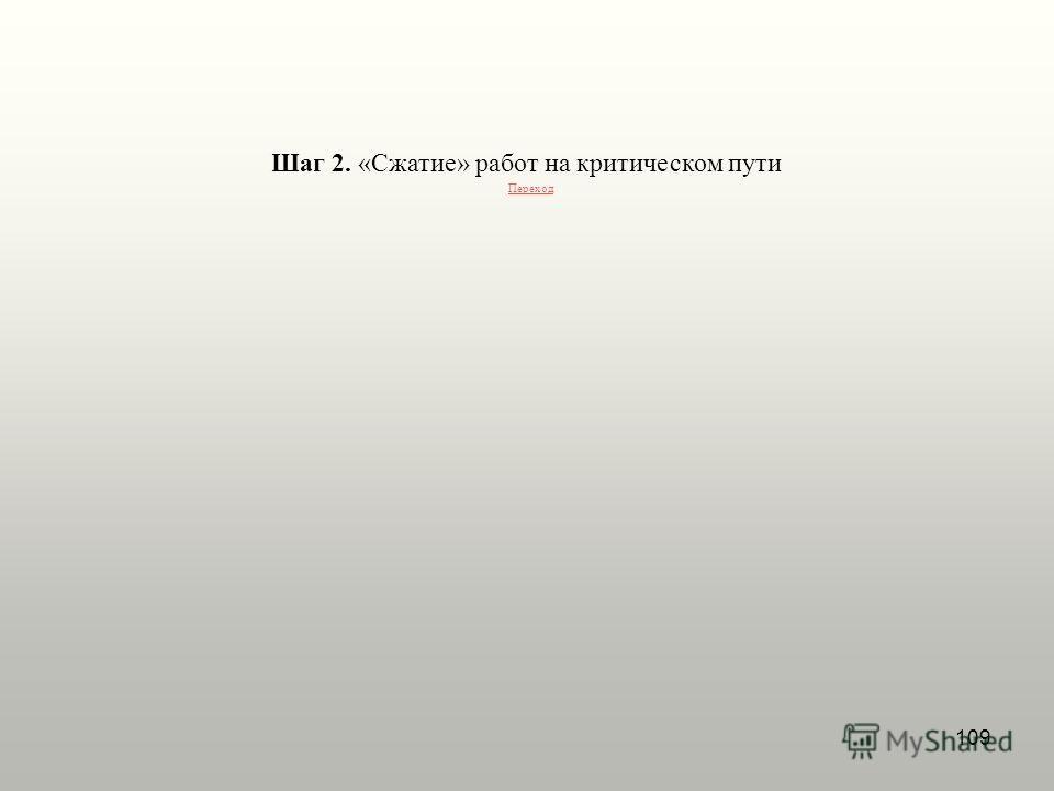 109 Шаг 2. «Сжатие» работ на критическом пути Переход