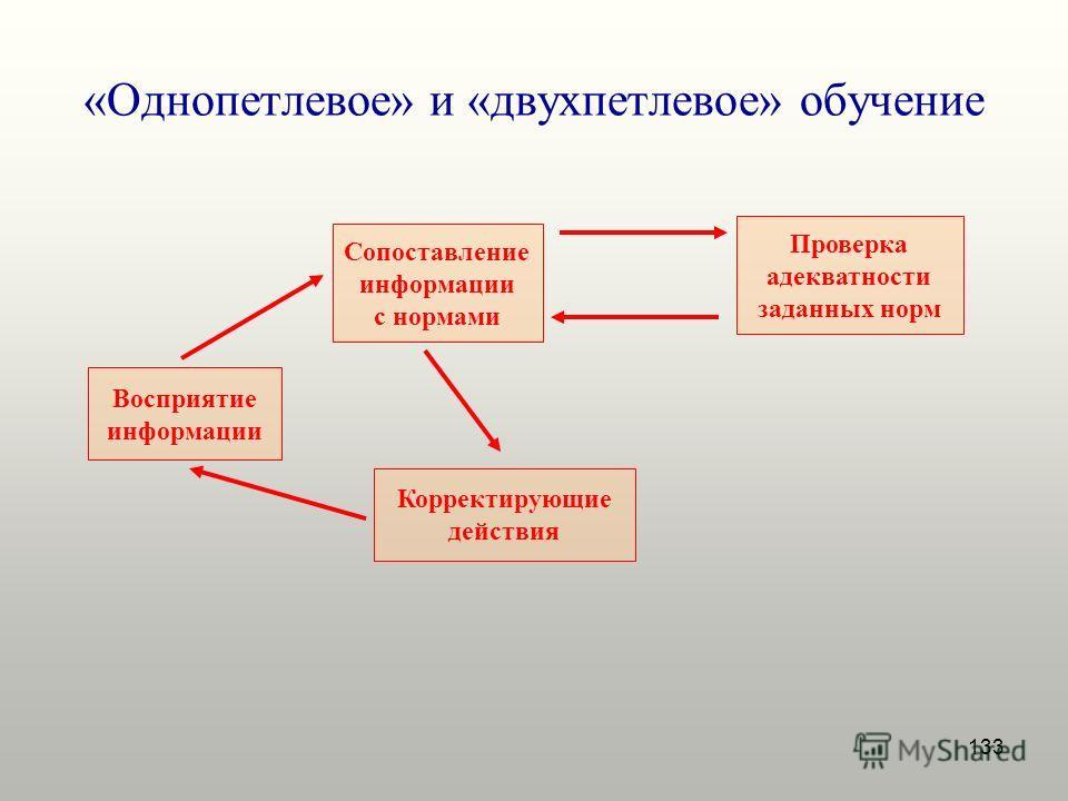 133 «Однопетлевое» и «двухпетлевое» обучение Восприятие информации Сопоставление информации с нормами Корректирующие действия Проверка адекватности заданных норм