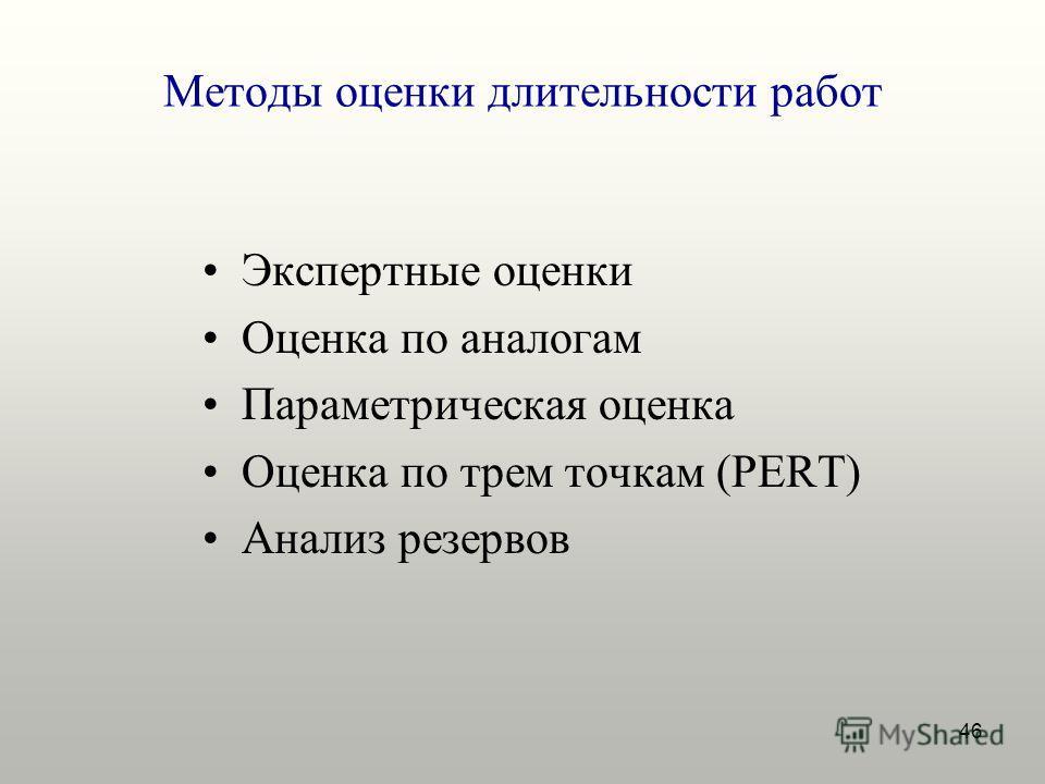 46 Методы оценки длительности работ Экспертные оценки Оценка по аналогам Параметрическая оценка Оценка по трем точкам (PERT) Анализ резервов