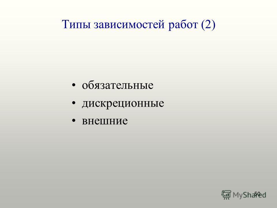 50 Типы зависимостей работ (2) обязательные дискреционные внешние