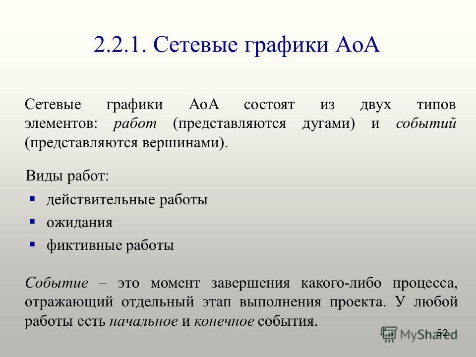 52 2.2.1. Сетевые графики AoA Сетевые графики AoA состоят из двух типов элементов: работ (представляются дугами) и событий (представляются вершинами). Событие – это момент завершения какого-либо процесса, отражающий отдельный этап выполнения проекта.
