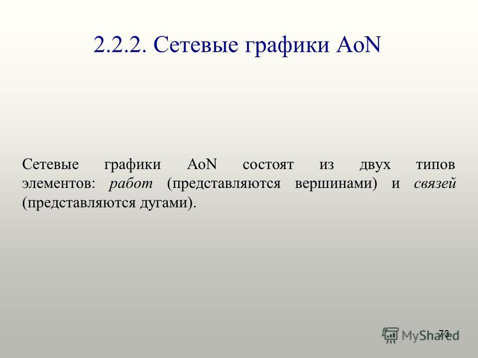 73 2.2.2. Сетевые графики AoN Сетевые графики AoN состоят из двух типов элементов: работ (представляются вершинами) и связей (представляются дугами).