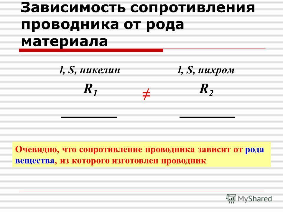 Зависимость сопротивления проводника от рода материала l, S, никелин R 1 l, S, нихром R2R2 Очевидно, что сопротивление проводника зависит от рода вещества, из которого изготовлен проводник