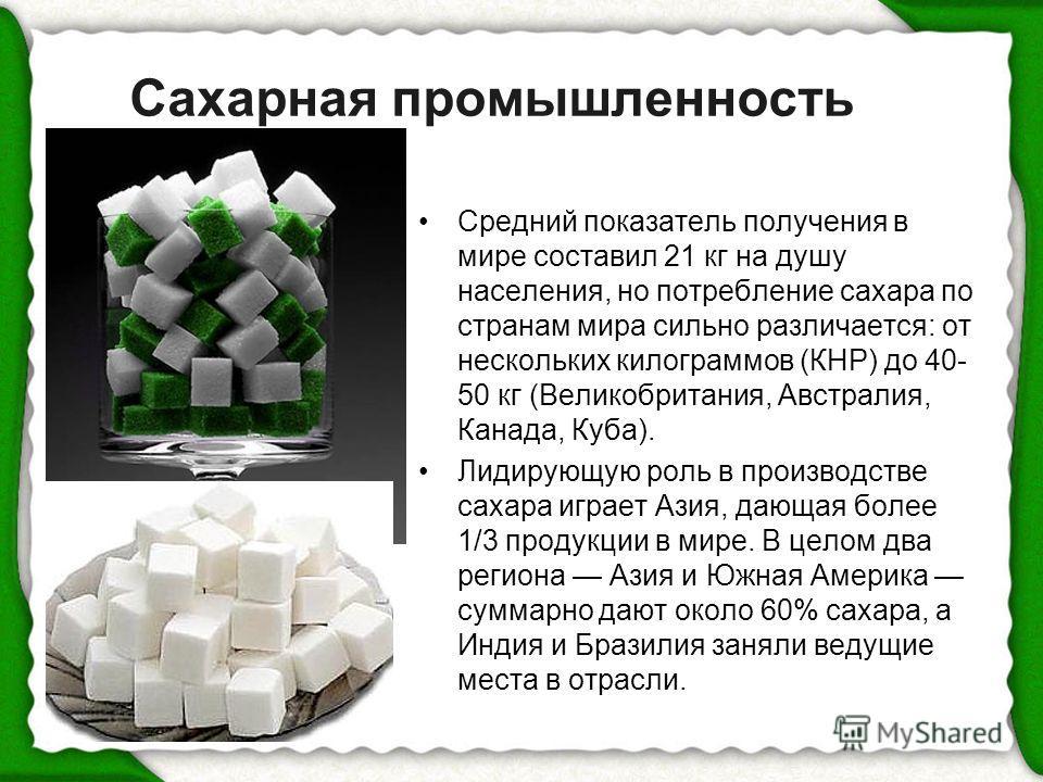 Сахарная промышленность Средний показатель получения в мире составил 21 кг на душу населения, но потребление сахара по странам мира сильно различается: от нескольких килограммов (КНР) до 40- 50 кг (Великобритания, Австралия, Канада, Куба). Лидирующую