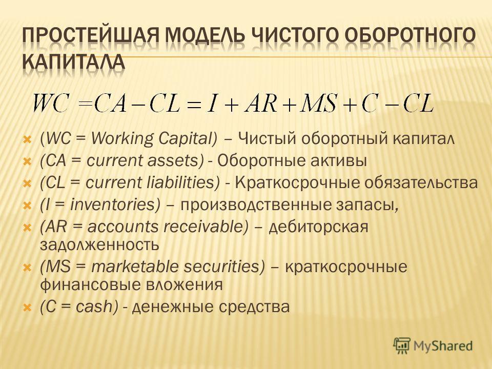 (WC = Working Capital) – Чистый оборотный капитал (CA = current assets) - Оборотные активы (CL = current liabilities) - Краткосрочные обязательства (I = inventories) – производственные запасы, (AR = accounts receivable) – дебиторская задолженность (M