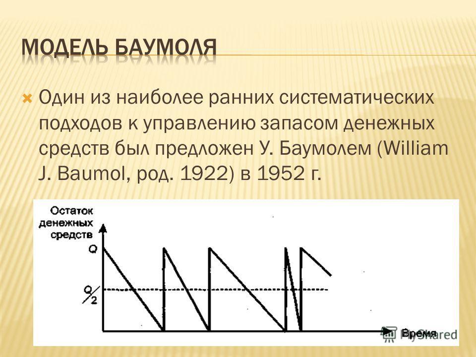 Один из наиболее ранних систематических подходов к управлению запасом денежных средств был предложен У. Баумолем (William J. Baumol, род. 1922) в 1952 г.