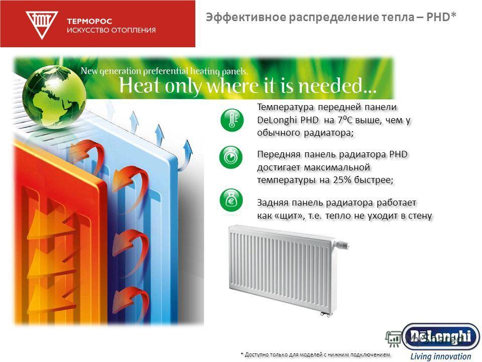 Эффективное распределение тепла – PHD* * Доступно только для моделей с нижним подключением Задняя панель радиатора работает как «щит», т.е. тепло не уходит в стену Температура передней панели DeLonghi PHD на 7С выше, чем у обычного радиатора; Передня