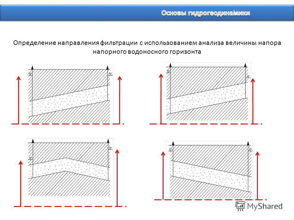 Определение направления фильтрации с использованием анализа величины напора напорного водоносного горизонта
