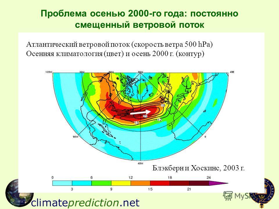 Проблема осенью 2000-го года: постоянно смещенный ветровой поток Атлантический ветровой поток (скорость ветра 500 hPa) Осенняя климатология (цвет) и осень 2000 г. (контур) Блэкберн и Хоскинс, 2003 г.