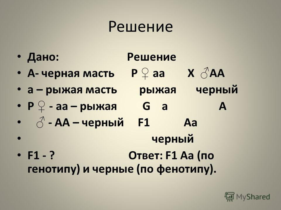 Решение Дано: Решение А- черная масть Р аа Х АА а – рыжая масть рыжая черный Р - аа – рыжая G а А - АА – черный F1 Аа черный F1 - ? Ответ: F1 Аа (по генотипу) и черные (по фенотипу).