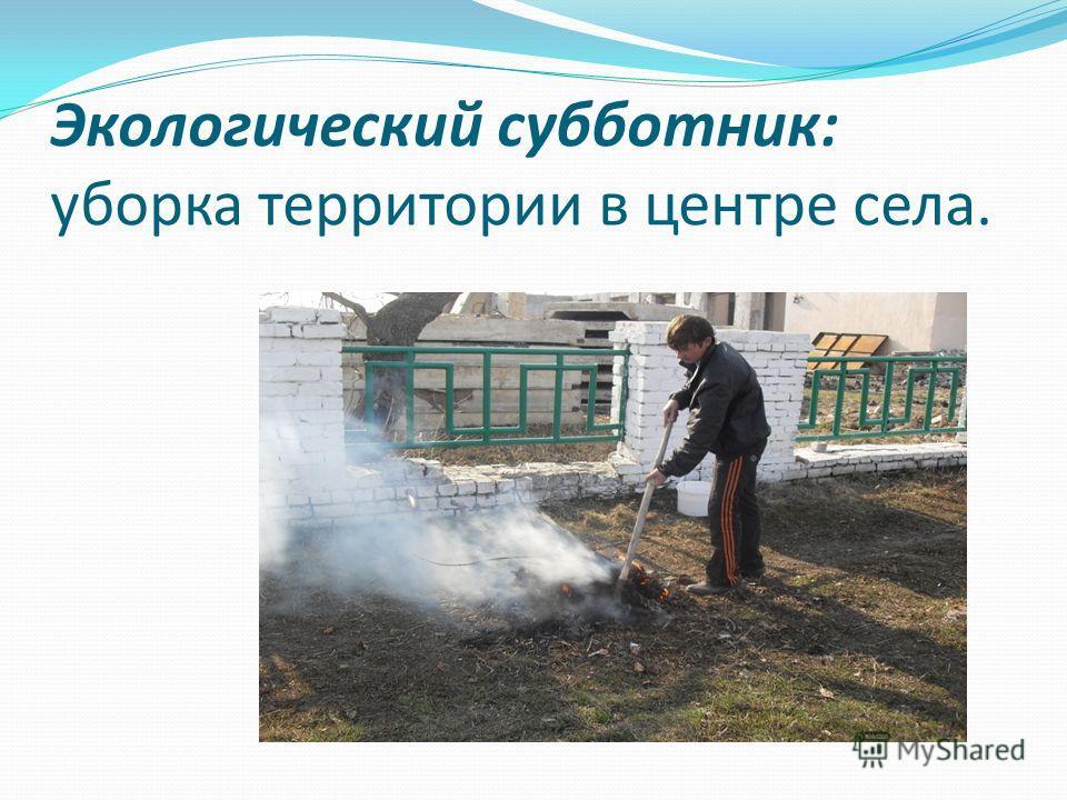 Экологический субботник: уборка территории в центре села.