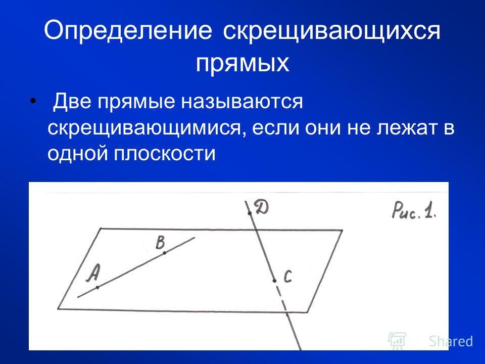 Определение скрещивающихся прямых Две прямые называются скрещивающимися, если они не лежат в одной плоскости