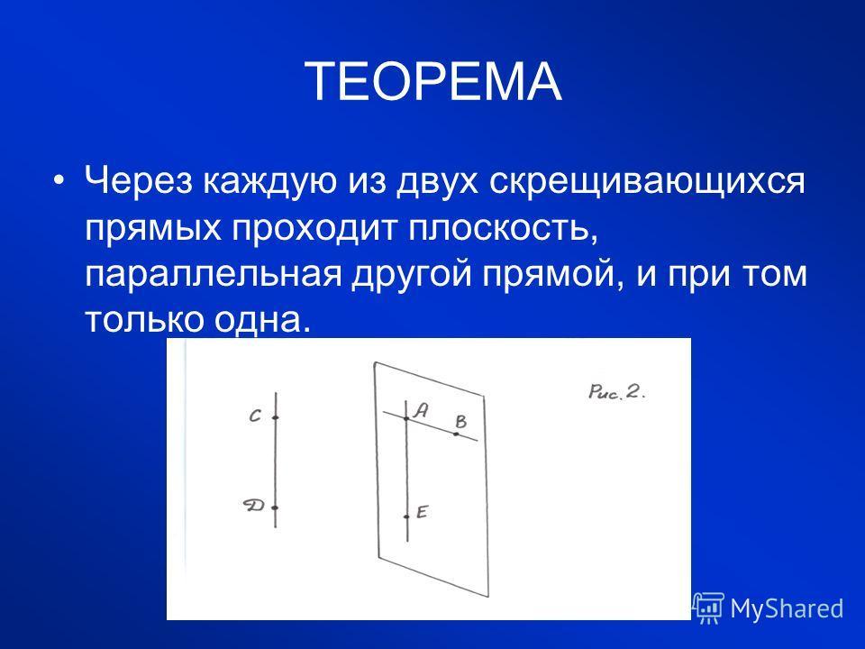 ТЕОРЕМА Через каждую из двух скрещивающихся прямых проходит плоскость, параллельная другой прямой, и при том только одна.
