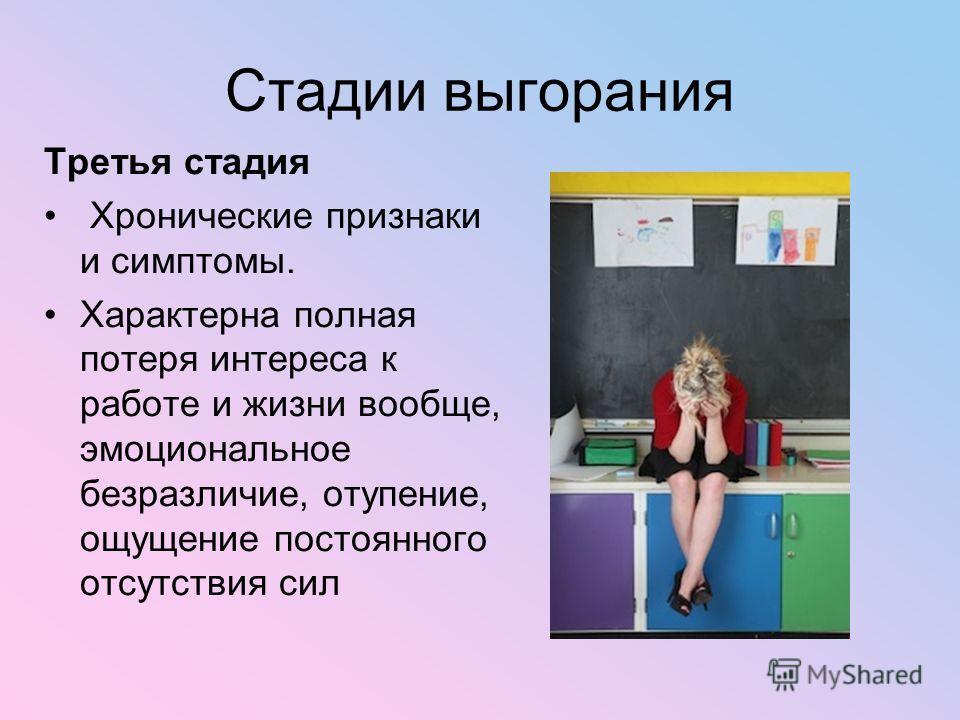 Стадии выгорания Третья стадия Хронические признаки и симптомы. Характерна полная потеря интереса к работе и жизни вообще, эмоциональное безразличие, отупение, ощущение постоянного отсутствия сил