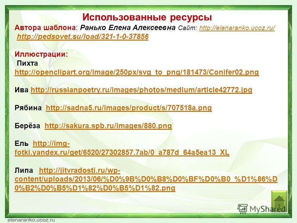 Использованные ресурсы Автора шаблона: Ранько Елена Алексеевна Сайт: http://elenaranko.ucoz.ru/http://elenaranko.ucoz.ru/ http://pedsovet.su/load/321-1-0-37856 Иллюстрации: Пихта http://openclipart.org/image/250px/svg_to_png/181473/Conifer02.png http