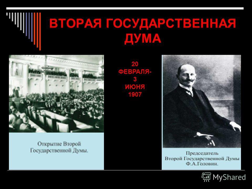 ВТОРАЯ ГОСУДАРСТВЕННАЯ ДУМА 20 ФЕВРАЛЯ- 3 ИЮНЯ 1907